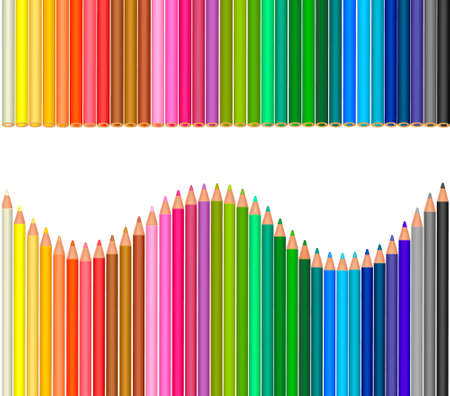 Background with color pencils. Vector illustration.  Vector