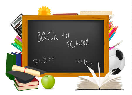 children school clip art: Back to school. Black desk with school supplies. Vector. Image ID: 76335460