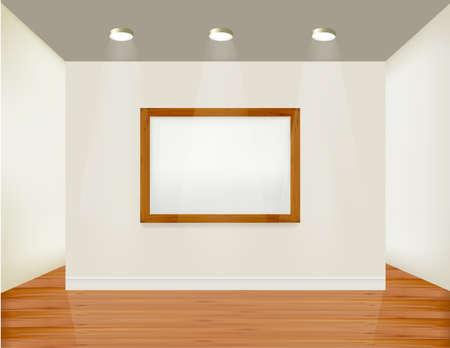 mur platre: Cadre vide sur le mur avec spots lights et arri�re-plan bois. Illustration vectorielle.