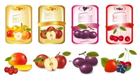 ciruela: Cuatro etiquetas con bayas y frutas. Vector.  Vectores