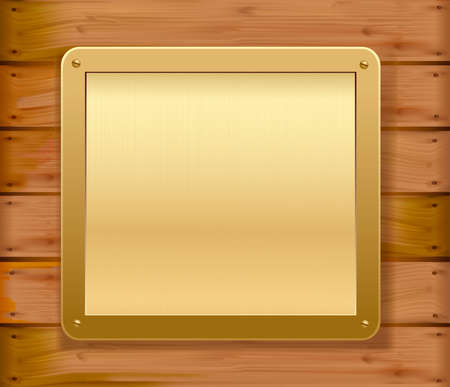 wooden plaque: Gold metallic plate on a wooden wall. Vector illustration.