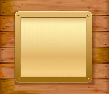 merken: Gold metallische Platte auf eine hölzerne Mauer. Vektor-Illustration.