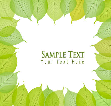 Border with fresh and green leaves. Vector illustration.  Vector