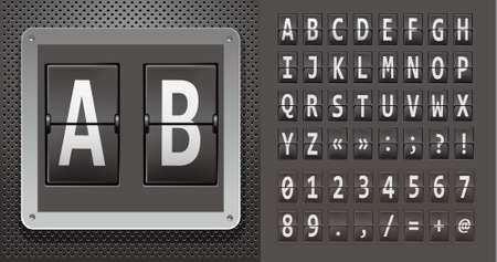 Alphabet of mechanical panel on metallic plate. Vector illustration.  Vector