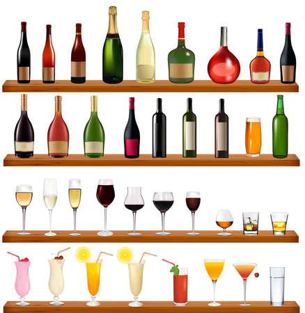 Set di tipi di bevande e bottiglie sulla parete. Illustrazione vettoriale.