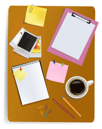 folio: Office supplies laying on the board. Vector.  Illustration