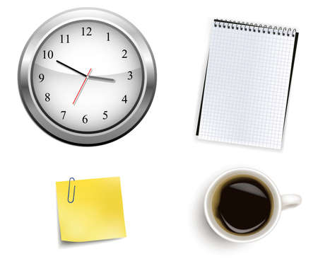 writing pad: Clock and office supplies. Vector.  Illustration
