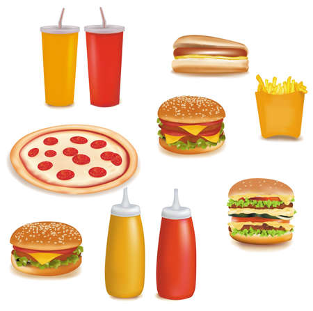 Photo-realistic vector. Big group of fast food products. Stock Vector - 9459912