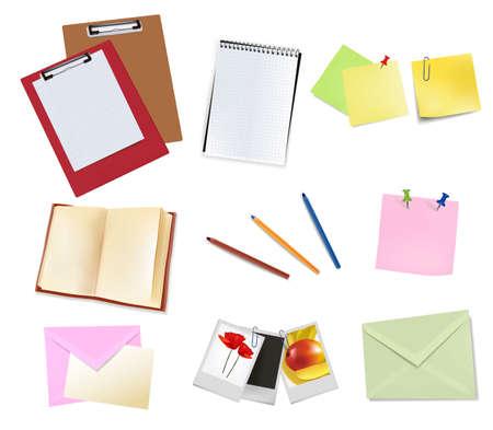 Photo frames, notebook, pen. Photo-realistic vector. Stock Vector - 9459910