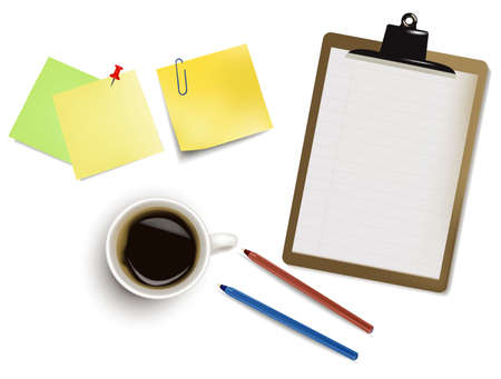 staplers: Notebook, pens and a cup of coffee. Photo-realistic vector.  Illustration