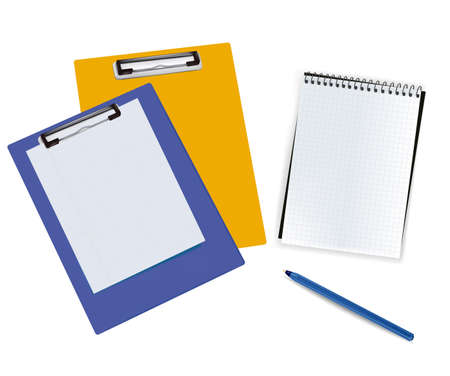 Blank clipboards with paper and notebook. Photo-realistic vector illustration.  Vector
