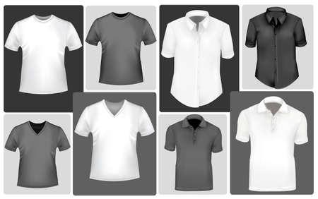 ポロ: 黒と白の男性と女性の t シャツ。写実的なベクトル イラスト。