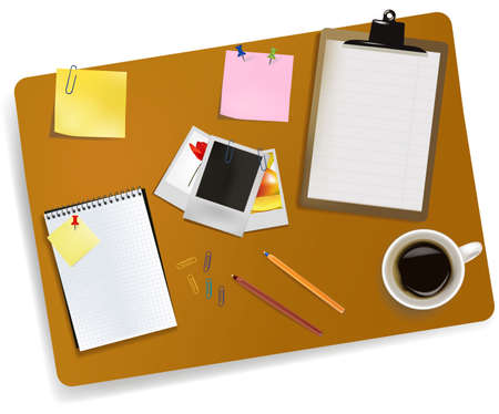 study desk: Office supplies laying on the board. Vector.  Illustration
