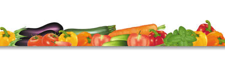 vegetable cook: Vegetables design border isolated on white. Photo-realistic vector.