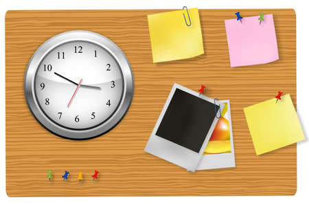 A wall office clock and supplies on the board.  Vector