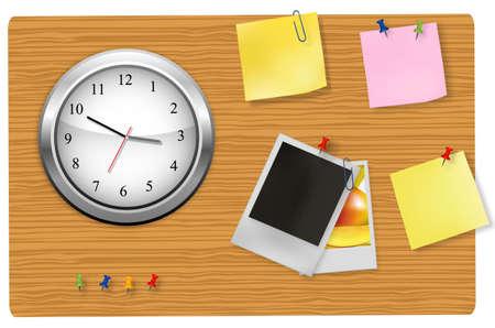 office clock: Un reloj de pared Oficina y suministros en el tablero.  Vectores