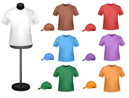 t shirt model: Molti camicie colorate con un manichino. Illustrazione vettoriale foto-realistica.