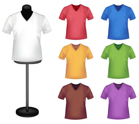 polo t shirt: Many colored shirts with a mannequin. Photo-realistic vector illustration.