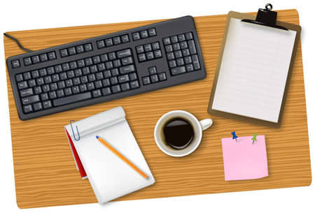 Black keyboard and office supplies laying on the board. Vector.