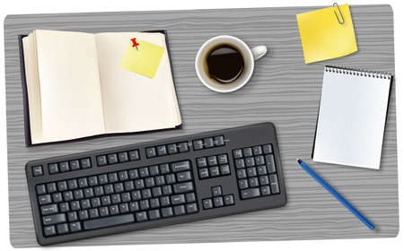 folio: Black keyboard and office supplies laying on the board. Vector.