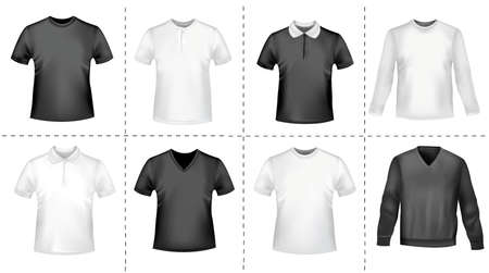 long sleeve: Black and white polo shirts. Photo-realistic vector illustration.  Illustration