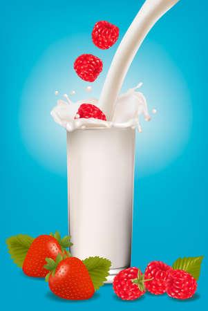 Frambuesa y fresa, caer en la bienvenida de leche. Ilustración vectorial.