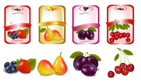 Cuatro etiquetas con bayas y frutas. Vector.