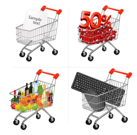 trolly: Vector illustration of a shopping carts on the white.