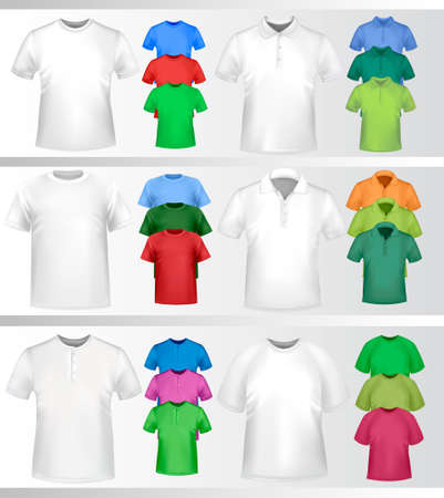 Color and white t-shirt design template. Vector illustration.  Vector