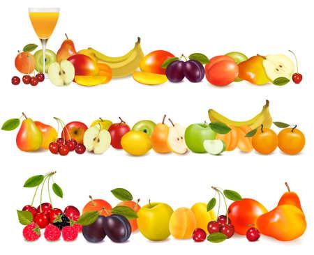 mangoes: Three fruit design borders isolated on white. Vector.  Illustration