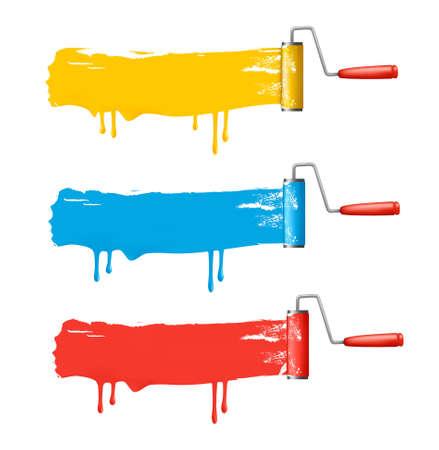 Drie kleuren roller borstels. Vector.