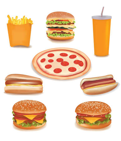 Big group of fast food products. Stock Vector - 9538582