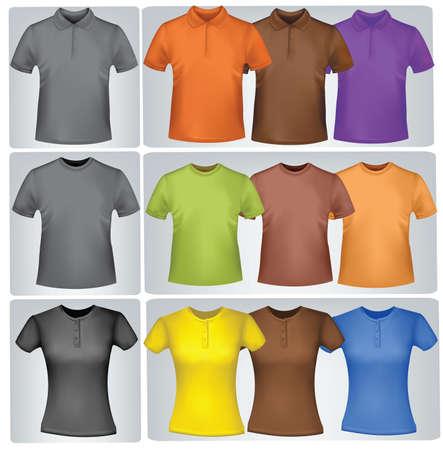 ポロ: 黒と色の t シャツ (男性および女性)。写実的なベクトル イラスト。