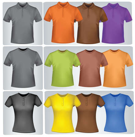 photorealistic: Black and colored t-shirts (men and women). Photo-realistic vector illustration.  Illustration