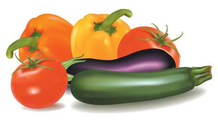 ensalada de tomate: El gran colorido grupo de verduras. Vector de calidad fotográfica.