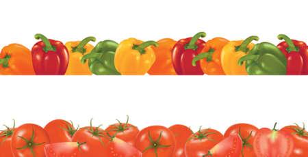 Vegetable design border isolated on white. Vector. Stock Vector - 9543262