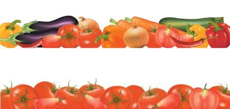 Vegetable design border isolated on white. Vector. Stock Vector - 9543261
