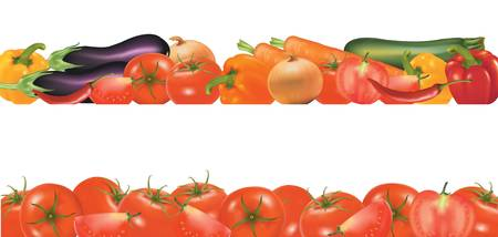 roasting: Vegetable design border isolated on white. Vector.