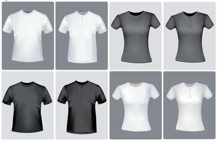 t short: Men and women shirts. Vector.
