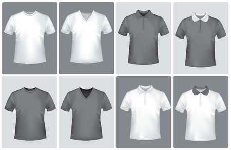 photorealistic: Black and white polo shirts. Photo-realistic vector illustration.  Illustration