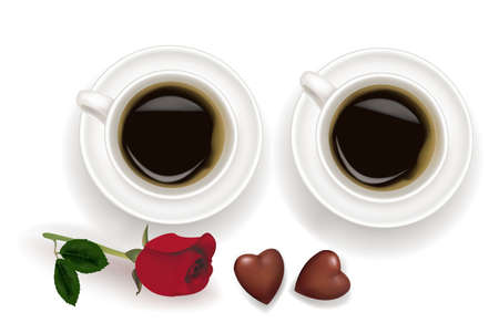 cafe bombon: Vista superior de tazas de caf� negro con chocolate aisladas sobre fondo blanco.  Vectores