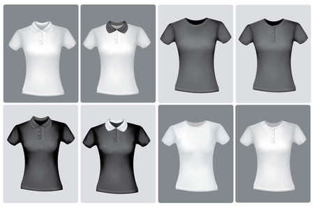 Black and white men polo shirts and t-shirts. Photo-realistic vector illustration  Vector