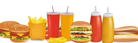 Vector de calidad fotográfica. Grupo de productos de comida rápida.