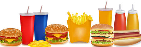 Big group of fast food products. Photo-realistic vector.  Stock Vector - 9538552