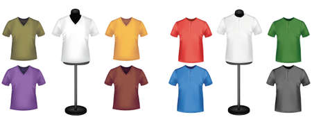 Black and colored t-shirts. Photo-realistic vector illustration.  Vector