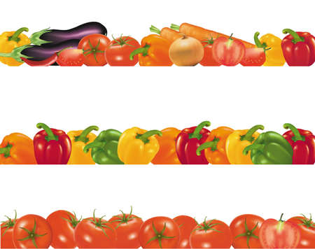 salads: Vegetables design borders isolated on white. Photo-realistic vector.