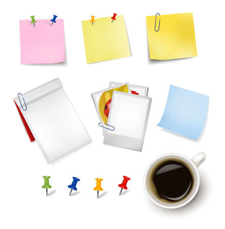 Sticker notes and a cup of coffee. Photo-realistic vector. Stock Vector - 9538559