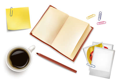 Book, office papers and a cup of coffee. Photo-realistic vector.  Vector