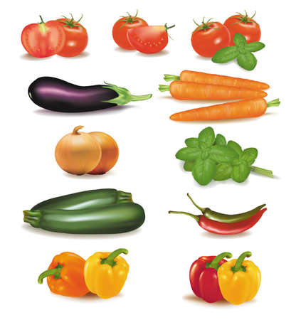 баклажан: Большой красочный группа овощей.