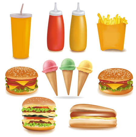 photorealistic: Photo-realistic vector. Big group of fast food products